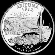 USA. 25 Cents. Quarter. States Of The USA. Arizona. UNC. 2008 D - 1999-2009: State Quarters