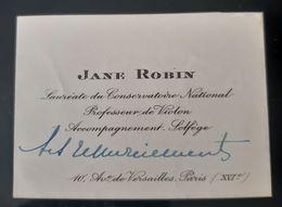 CARTE VISITE ANCIENNE JANE ROBIN PROFESSEUR VIOLON LAUREATE CONSERVATOIRE NATIONALE PARIS VIOLIN PROFESSOR MUSIC ENVOI - Cartoncini Da Visita