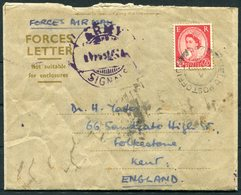 1955 GB Army Signals Forces Air Mail Letter. Field Post Office. Written Onboard A Training Ship In Indian Ocean. Nairobi - 1952-.... (Elizabeth II)