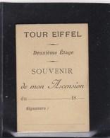 TOUR EIFFEL , Ticket D'accés Au Deuxieme Etage SOUVENIR De Mon Ascension , Avec Photo (lot77) - Tickets - Vouchers