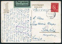 1940 Finland Kenttapostia Faltpost Map Postcard - Sweden - Finlandia
