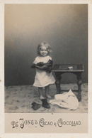 Early Advertisement Card,  Shining Shoes, De Jong's Cacao, Real Photo - Reclame