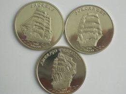 Gilbert Islands. Set, Set Of Coins. 1 Dollar. Sailing Vessels Of Sagresi, Sorlandet, Vespucci. UNC. 2017 - Kiribati