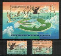 """îles Cocos-Keeling"""". Océan Indien. Oiseaux:Grande Frégate & Phaéton à Bec Jaune. Bloc-feuillet + 2 T-p Oblitérés - Kokosinseln (Keeling Islands)"""