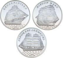 The Gilbert Islands. A Set Of Coins. 1 Dollar. 2018. UNC. Sailboats Nippon Maru, Stadssaad, Krusenstern - Kiribati