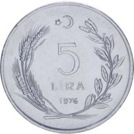 Turkey. 5 Lire1976. UNC - Turkije