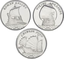 Gilbert Islands Set Of 3 Coins 2019 Sailboats Drakar Vikings, Junk, Haller UNC - Kiribati