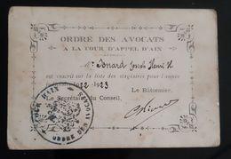 CARTE STAGIAIRE ORDRE DES AVOCATS A LA COUR D'APPEL D'AIX 1922 SIGNATURE BATONNIER + CACHET JUSTICE DROIT - Documents Historiques