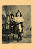 Early Advertisement Card, Girl With Chair,Koffie, Rookvleesch, Th. Horsman, Westerstraat, Backside - Reclame