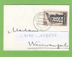 LETTRE FORMAT CARTE DE VISITE AVEC TIMBRE 2 FRANCS,EUROPE 1956. - Luxembourg