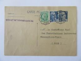 Entier Postal Marianne Gandion 5f + Timbres YT N°680 Et 719B - Cachet Convoyeur 1949 - Entiers Postaux