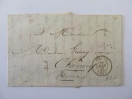 Lettre Vaise Vers Clamecy Avec Cachet Type 13 Chalon Sur Saône Au Verso - Datée 1847 - Postmark Collection (Covers)