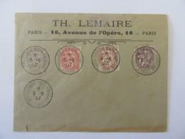 Enveloppe Philatélique Exposition Du Timbre Poste De Paris 1907 - Timbres Type Blanc YT N°107 A 110 - France