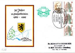 """(BWH1) BRD Sonderumschlag Bundeswehr HEER """"30 Jahre 10.Panzerdivision1959-1989"""" SSt 7.10.89 SIGMARINGEN - [7] Repubblica Federale"""