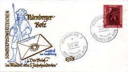 """Bundesrepublik Schmuck-FDC """"Ausst. Brief Im Wandel Von 5 Jahrhunderten"""" Mi.365 ESSt. 31.8.61 NÜRNBERG 2 - FDC: Sobres"""