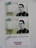 RARE! Printing ERROR! Double Perforation, UAE Sharjah Uruguay Football Soccer Player Juan Alberto Schaffino - Sharjah