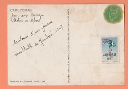 VIGNETTE JAMBOREE FRANCE 1947 SUR CARTE POSTALE SOUS CAMP BRETAGNE (ITALIENS DE MILAN) JAMBOREE 1947 - Commemorative Labels