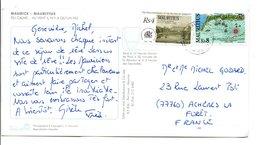 MAURICE AFFRANCHISSEMENT COMPOSE SUR CARTE POUR LA FRANCE 1998 - Maurice (1968-...)
