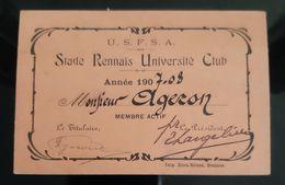 USFSA CARTE MEMBRE 1907 STADE RENNAIS UNIVERSITE CLUB RENNES UNION SOCIETE FRANCAISE SPORT ATHLETIQUE ATHLETISME 35 - Programma's