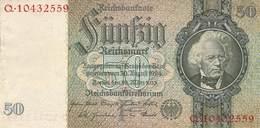 50 Reichsmark  AU/EF (II) 1933 - [ 4] 1933-1945: Derde Rijk