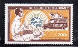 BENIN DAHOMEY 1974 UPU MAIL TRUCK RENAULT IN VILLAGE AFRICAN DRUMMER 200f MNH - Benin – Dahomey (1960-...)
