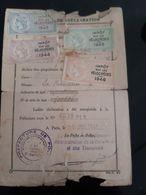 CARTE DECLARATION 1943 A 1946 IMPOT BICYCLETTE  LA FRANCAISE CONTRIBUTIONS INDIRECTES 4 TIMBRES FISCAUX VELOCIPEDES VELO - Revenue Stamps