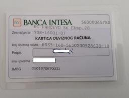Banca Intesa Serbia  Foreign Currency Account Card Kartica Deviznog Racuna - Krediet Kaarten (vervaldatum Min. 10 Jaar)