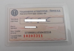 Nacionalna Stedionica  Bank Serbia  Check Card - Krediet Kaarten (vervaldatum Min. 10 Jaar)