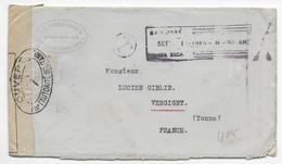1916 - COSTA RICA - ENVELOPPE RECOMMANDEE TAXEE Avec CENSURE De SAN JOSE => VERGIGNY (YONNE) - Costa Rica