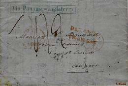 1852- Lettre De Valparaiso Pour  La France - VIA PANAMA=INGLATERRA Encadré Bleu +Panama Transit -taxe 42 D - Marcophilie (Lettres)
