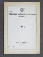 Federazione Motociclistica Italiana Milano - R. M. S. - VI Motocross - Ed. 1960 - Other