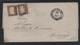 IV: 10c Brunociocc.chiaro X Due Su Lettera Da PalermPar.ze  '61 (p.2) = € 625 - Sardegna