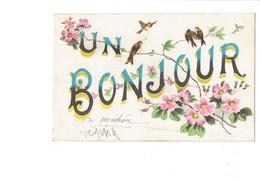 Cpa Illustration - 21 - Un Bonjour De MOITRON - Lettres Alphabet Branche Arbre Oiseau Hirondelle Fleurs - G. HAREL - Otros Municipios