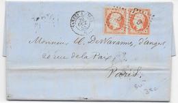 1855 - SUPERBE PAIRE 40c EMPIRE OBLITERE AMBULANT NANTES à PARIS Sur LETTRE De ANGERS (MAINE ET LOIRE) - 1849-1876: Klassieke Periode