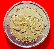 FINLANDIA - 1999 - Moneta - Bacca Del Lampone Artico Rubus Camemorus, Con I Suoi Fiori - Euro - 2.00 - Finlandia
