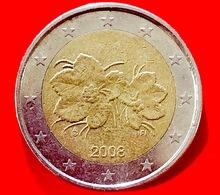 FINLANDIA - 2008 - Moneta - Bacca Del Lampone Artico Rubus Camemorus, Con I Suoi Fiori - Euro - 2.00 - Finlandia