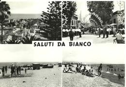 """4993"""" SALUTI DA BIANCO """"4 VEDUTE-PANORAMA-FESTA IN PAESE-SPIAGGE-CART. POST. ORIG. SPED.1966 - Saluti Da.../ Gruss Aus..."""