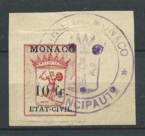 """MONACO. Timbre Fiscal """"Etat Civil """" Oblitéré Sur Fragment . - Monaco"""