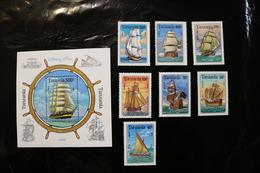 Tanzania 1209-1216 Sailing Ships Cpl MNH + Souvenir Sheet Block 1994 A04s - Tanzania (1964-...)
