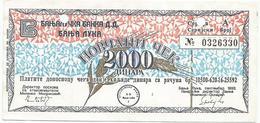 Bosnia And Herzegovina 2000 Dinara 1992. Military Cheque  JAJCE Postmark - Bosnië En Herzegovina