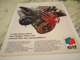 ANCIENNE PUBLICITE CADEAU DE L EQUIPE MATRA  ELF 1968 - Transportation
