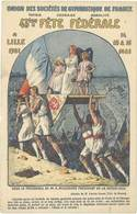 Cpa Pub Union Des Sociétés De Gymnastique De France, 43e Fête Fédérale à Lille 1921 - Publicité