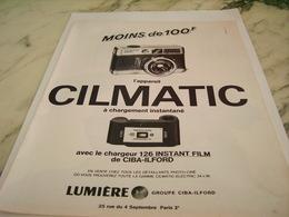 ANCIENNE PUBLICITE APPAREIL PHOTO  CILMATIC DE LUMIERE 1968 - Autres