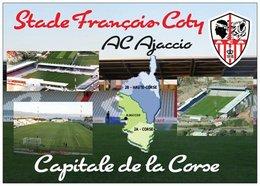 Stade De Football - François Coty - AC AJACCIO - Carte Géographique De La Corse - Capitale De La Corse - Cpm - Vierge - - Fútbol
