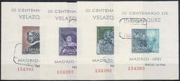 ESPAÑA 1961 Nº 1344/1347 HOJITAS MISMA NUMERACION USADAS - 1931-Aujourd'hui: II. République - ....Juan Carlos I