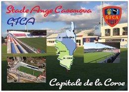 Stade De Football - Ange Casanova - GFCA AJACCIO -Carte Géographique De La Corse - Capitale De La Corse - Cpm - Vierge - - Soccer