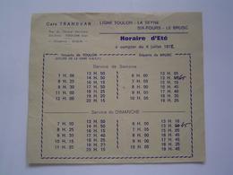 HORAIRES Ancien :  CARS TRANSVAR / TOULON - LE BRUSC / SIX FOURS / VAR 1972 - France