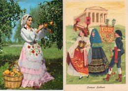 FOLKLORE SICILIANO COSTUMI DI RAGAZZE IN FESTA - Costumi