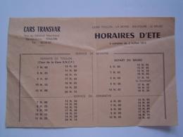 HORAIRES Ancien :  CARS TRANSVAR / TOULON - LE BRUSC / SIX FOURS / VAR 1973 - France