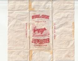 Beurre D Isigny Emballage Ancien Beurre Par J Lepelletier à Carentan Manche - Pubblicitari